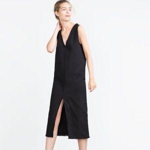 ✨Host Pick✨ Zara Black Fringe Hem Denim Midi Dress